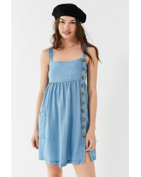 Urban Outfitters - Uo Lindsay Button-up Chambray Mini Dress - Lyst