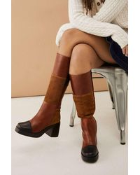 Urban Outfitters Uo Bibi Patchwork Knee-high Boots - Brown