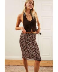Urban Outfitters Uo Black 70s Paisley Awkward Mesh Midi Skirt