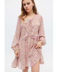 Dress Forum Rikki Ruffle Long Sleeve Mini Dress - Pink