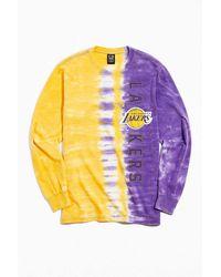 Urban Outfitters Los Angeles Lakers Split Tie-dye Long Sleeve Tee - Purple