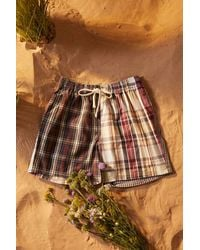 Urban Outfitters Uo Spliced Check Shorts - Multicolour