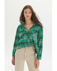 BDG Rayne Flannel Boxy Cropped Button-down Shirt - Green
