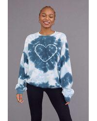 Urban Renewal Recycled Heart Tie-dye Crew Neck Sweatshirt - Blue