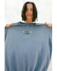 Urban Outfitters Thanks A Bunch Embroidered Crew Neck Sweatshirt - Blue