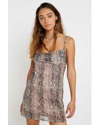 Urban Outfitters Uo Snakeskin Mesh Slip Mini Dress - Multicolour