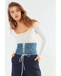Urban Outfitters - Denim Lace-up Corset Belt - Lyst