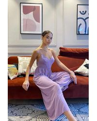 Urban Outfitters Uo Molly Cupro Culotte Jumpsuit - Purple