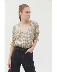 Urban Outfitters Uo Flora Puff Sleeve V-neck Blouse - Multicolor