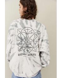 Urban Outfitters Uo Grey Tie-dye Distant Worlds Sweatshirt