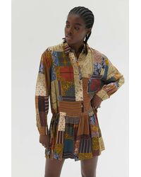 Urban Outfitters Uo Goldie Bandana Shirt Dress - Multicolor