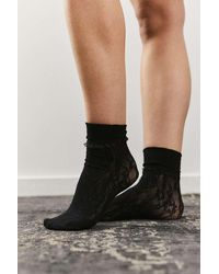 Urban Outfitters Floral Lace Ruffled Socks - Black