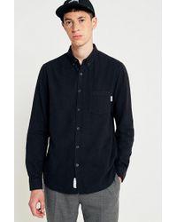 Urban Outfitters - Shore Leave Black Brushed Herringbone Long-sleeve Shirt - Lyst