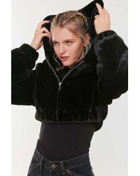 Urban Outfitters Uo Faux Fur Hooded Cropped Jacket - Black