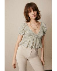 Urban Outfitters Uo Izzy Smocked Check Blouse - Natural