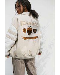 BDG Ecru Denim Varsity Jacket - White