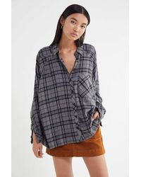 Urban Outfitters - Uo Brendan Drapey Flannel Button-down Shirt - Lyst