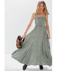 Auguste Gingham Paneled Maxi Dress - Green