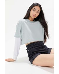 Project Social T Layered Thermal Cropped Tee - Gray