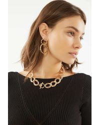 Urban Outfitters Laurel Statement Chain Necklace - Metallic