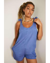 Out From Under Bunny Tie-up Beach Playsuit - Blue