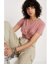 0ef6015f94 Uo Twist Front Rose T-shirt - Womens L - Pink