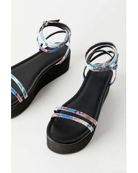 Urban Outfitters Uo Max Strappy Platform Sandal - Black
