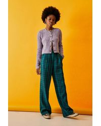 Urban Outfitters Uo Teal Check Puddle Trousers - Multicolour