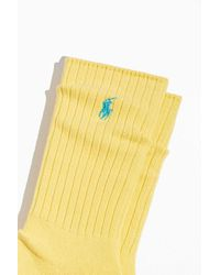 Polo Ralph Lauren Ribbed Cotton Crew Sock - Yellow
