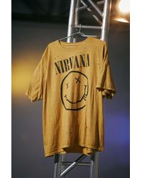 Urban Outfitters Nirvana Destroyed T-shirt Dress - Yellow