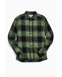 Standard Cloth Vintage Acid Wash Flannel Button-down Shirt - Green