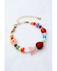 Urban Outfitters Mixed Strawberry Bead Bracelet - Red