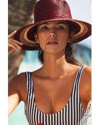 Brixton - Hampton Colorblock Straw Panama Hat - Lyst
