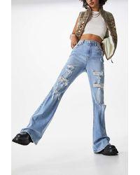 BDG Bgd Distressed Vintage Wash Flare Jean - Blue