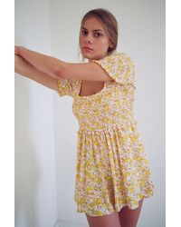 Urban Outfitters Uo Lydia Smocked Romper - Yellow