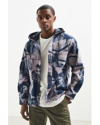 Urban Outfitters - Uo Printed Denim Hooded Button-down Shirt - Lyst