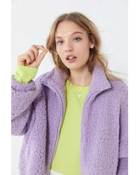 Urban Outfitters - Uo Willow Fuzzy Drawstring Teddy Jacket - Lyst