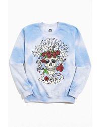 Urban Outfitters Grateful Dead Skull Crew Neck Sweatshirt - Blue