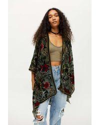 Urban Outfitters Mayfair Burnout Velvet Robe - Green