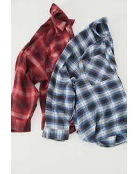 BDG Lachlan Flannel Button-down Shirt - Blue
