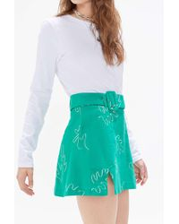 Capulet Uo Exclusive Rosa Printed Belted Mini Skirt - Blue
