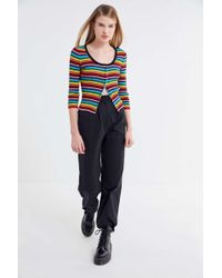 Lazy Oaf - Rainbow Ribbed Button-down Cardigan - Lyst