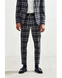 Urban Outfitters Uo Plaid Skinny Fit Suit Pant - Blue