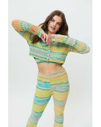 Urban Outfitters Uo Dori Space-dye Knit Cropped Cardigan - Green