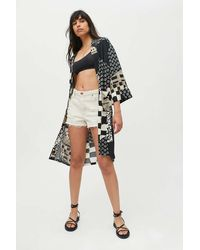 Urban Outfitters Uo Vera Patchwork Robe Duster - Black