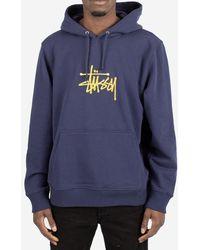 Stussy - Felpa Basic Hood - Lyst