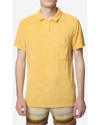 Universal Works Polo In Velour - Yellow