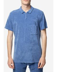 Universal Works Polo In Velour - Blue