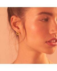 Rosie Kent Tyro Yellow Gold Stud Earrings - Multicolor