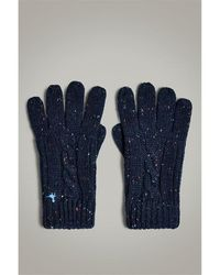 Jack Wills Belfair Cable Nep Gloves - Blue